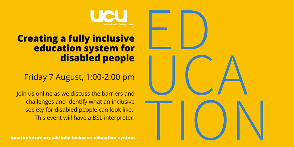 Creating a fully inclusive education system for disabled people: 7 August 2020, 1-2pm