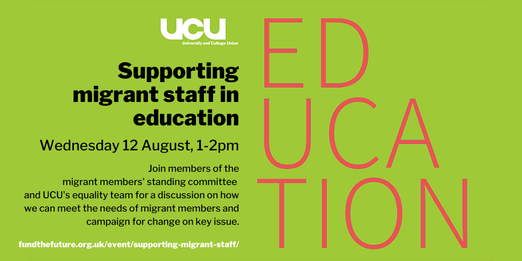 Supporting migrant staff in education: Wednesday 12 August 2020, 1:00 pm - 2:00 pm