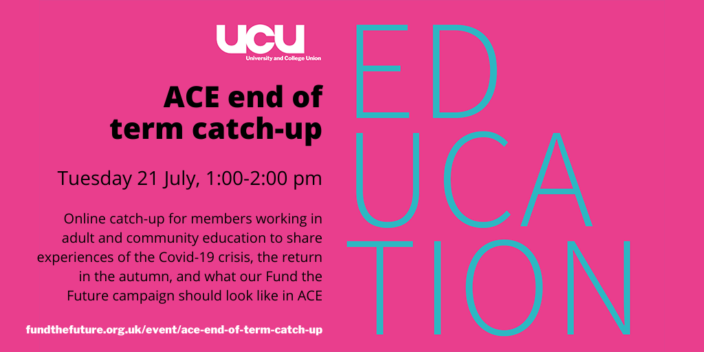 ACE end of term catch-up - Tuesday 21 July, 1:00-2:00 pm