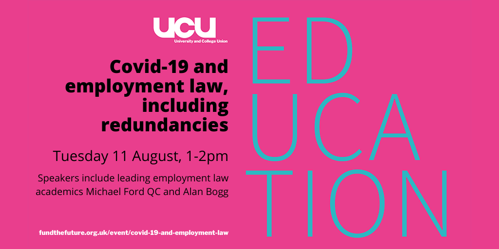 Covid-19 and employment law, including redundancies - Tuesday 11 August, 1-2pm