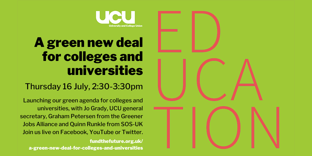 A green new deal for colleges and universities: online, 17 July 2020, 02:30PM