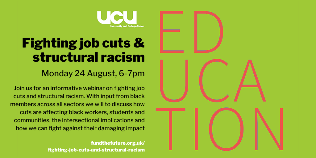 Fighting job cuts and structural racism, Monday 24 August, 18.00-19.00