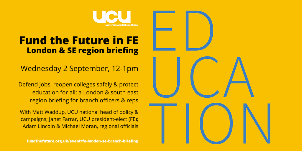 London & SE FE briefing: Wed 2 September, 12-1pm