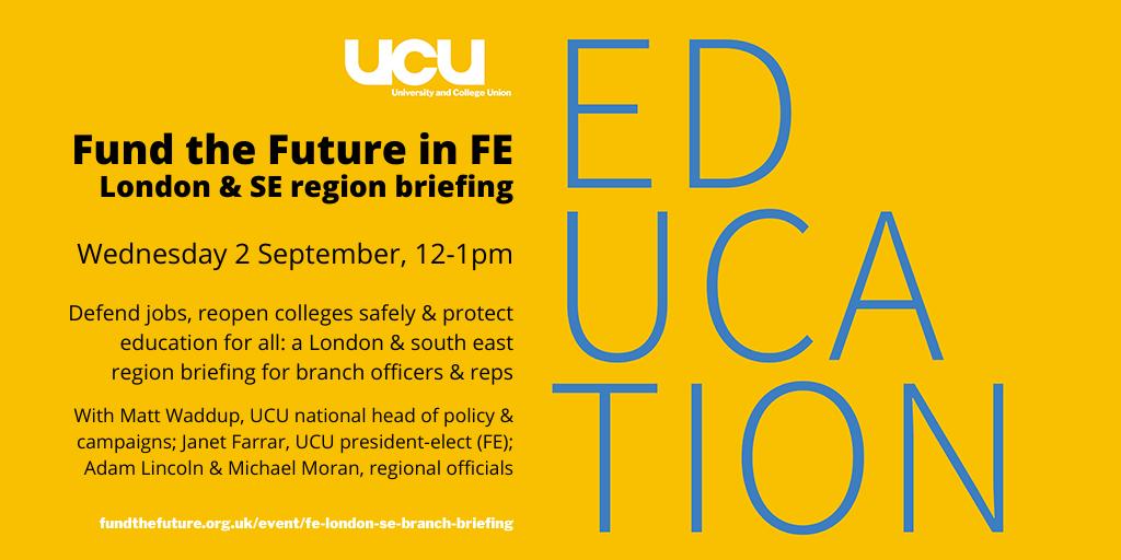 London & SE FE briefing: Wed 2 September, 12-1pm