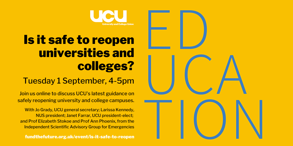 Is it safe to reopen universities and colleges? : Tuesday 1 September, 4-5pm