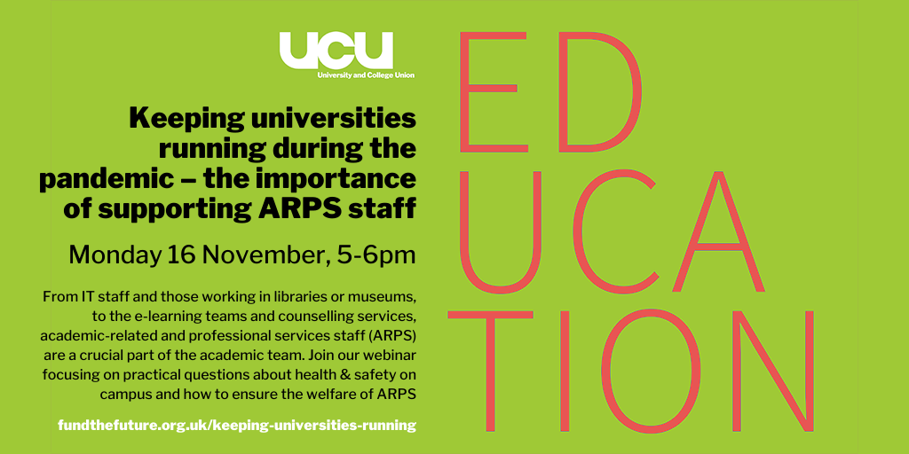 Keeping universities running during the pandemic – the importance of supporting ARPS staff: 16 November 5-6pm